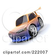 Royalty Free RF Clipart Illustration Of A 3d Drifter Car With A Chameleon Paint Job And High Spoiler 2