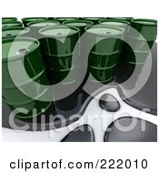 Royalty Free RF Clipart Illustration Of A 3d Oil Spill Around Green Barrels