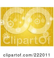 Royalty Free RF Clipart Illustration Of Suspended Snowflakes Over A Gold Star Background