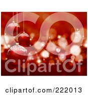 Background Of Suspended 3d Red Glass Christmas Balls Over Sparkles