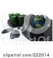 Royalty Free RF Clipart Illustration Of A 3d Oil Spill Around Earth And Green Barrels by KJ Pargeter