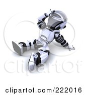 Royalty Free RF Clipart Illustration Of A 3d Robot Sitting On The Ground And Looking Upwards