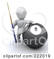 Royalty Free RF Clipart Illustration Of A 3d White Character By A Large Eight Ball