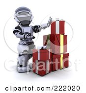 Royalty Free RF Clipart Illustration Of A 3d Robot Stacking Gift Boxes