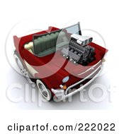 Royalty Free RF Clipart Illustration Of A 3d Super Charged Convertible Chevy by KJ Pargeter