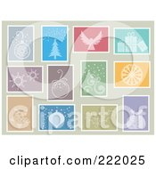 Royalty Free RF Clipart Illustration Of A Digital Collage Of Christmas Themed Stamps On Beige