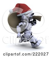 Royalty Free RF Clipart Illustration Of A 3d Robot Santa Running With A Sack Over His Shoulder