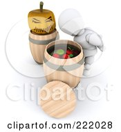 Royalty Free RF Clipart Illustration Of A 3d White Character Bobbing For Apples At A Halloween Party