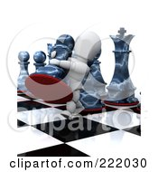 Royalty Free RF Clipart Illustration Of A 3d White Character Moving A Big Chess Piece On A Board by KJ Pargeter