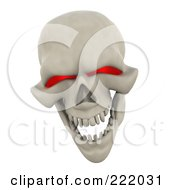 Royalty Free RF Clipart Illustration Of A 3d Evil Red Eyed Skull Laughing