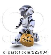 Royalty Free RF Clipart Illustration Of A 3d Robot Carrying A Halloween Pumpkin Basket