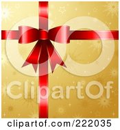 Royalty Free RF Clipart Illustration Of A 3d Red Gift Ribbon And Bow Over Gold Snowflake Paper