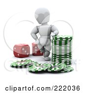 3d White Character With Poker Chips And Red Dice