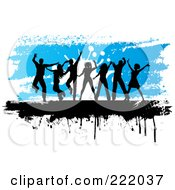 Silhouetted People Dancing Against A Grungy Blue And White Background