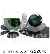 Royalty Free RF Clipart Illustration Of A 3d White Character Trying To Mop Up A Large Oil Spill Around Earth