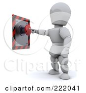 Royalty Free RF Clipart Illustration Of A 3d White Character Standing And Pushing A Red Button