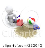 3d White Character Building A Sand Castle By A Beach Ball And Flip Flops