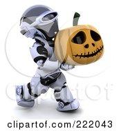 Royalty Free RF Clipart Illustration Of A 3d Robot Carrying A Halloween Pumpkin