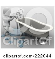 Royalty Free RF Clipart Illustration Of A 3d White Character Fixing A Leaky Tub by KJ Pargeter