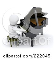 Royalty Free RF Clipart Illustration Of A 3d White Character Playing A Grand Piano