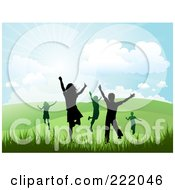 Royalty Free RF Clipart Illustration Of Silhouetted Happy Children Running And Jumping In A Hilly Summer Or Spring Landscape