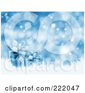 Royalty Free RF Clipart Illustration Of 3d Blue Gift Boxes Over Snow On A Glittery Blue Background