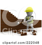 Royalty Free RF Clipart Illustration Of A 3d White Character Demolishing A Brick Wall by KJ Pargeter