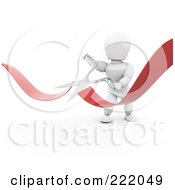 Royalty Free RF Clipart Illustration Of A 3d White Character Snipping A Ribbon With Scissors by KJ Pargeter