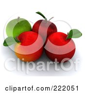 3d Red And Green Apples With Stems And Leaves