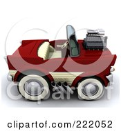 Royalty Free RF Clipart Illustration Of A 3d Super Charged Convertible Chevrolet by KJ Pargeter
