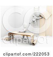 Royalty Free RF Clipart Illustration Of 3d White Characters Applying Wallpaper by KJ Pargeter