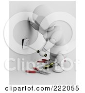 Royalty Free RF Clipart Illustration Of A 3d White Character Installing An Electric Jack In A Wall 2