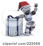 Royalty Free RF Clipart Illustration Of A 3d Robot Waving And Leaning On A Gift Box