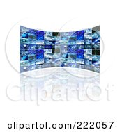 Royalty Free RF Clipart Illustration Of A 3d Curved Wall Of Television Screens Displaying Business Scenes by KJ Pargeter