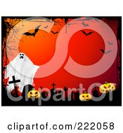 Royalty Free RF Clipart Illustration Of A Ghost Over Tombstones And Pumpkins On Red With Grunge Webs And Bats