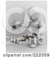 Royalty Free RF Clipart Illustration Of A 3d White Character Installing An Electric Jack In A Wall 1