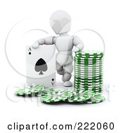 3d White Character With Poker Chips And A Playing Card
