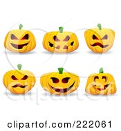 Royalty Free RF Clipart Illustration Of A Digital Collage Of Six 3d Jackolantern Halloween Pumpkins