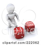 3d White Character Standing By Red Dice