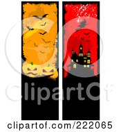 Royalty Free RF Clipart Illustration Of A Digital Collage Of Grungy Pumpkin And Bat And Witch And Haunted House Borders