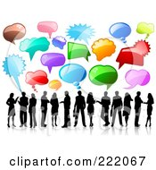 Royalty Free RF Clipart Illustration Of Black Silhouetted Business People Under Shiny Speech Balloons On A Reflective White Background by KJ Pargeter