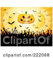 Royalty Free RF Clipart Illustration Of A Silhouetted Crowd Partying Under A Jack O Lantern And Vampire Bats On Yellow