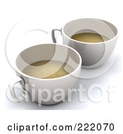 Two 3d Cups Of Coffee