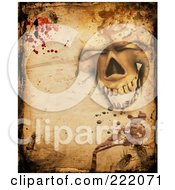 Royalty Free RF Clipart Illustration Of A Creepy Background Of A Skull Parchment Bugs And Blood by KJ Pargeter