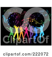 Royalty Free RF Clipart Illustration Of Silhouetted Colorful People Dancing Against A Black Music Background