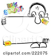 Royalty Free RF Clipart Illustration Of 3d Back 2 School Floating Above A Man Holding A School Sale Sign Board