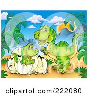 Royalty Free RF Clipart Illustration Of A Mother And Hatching Baby T Rex In A Tropical Mountainous Landscape