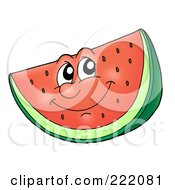 Royalty Free RF Clipart Illustration Of A Happy Watermelon Face Smiling by visekart