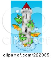 Royalty Free RF Clipart Illustration Of A Three Headed Dragon Around A Castle Tower In The Sky