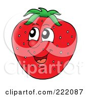 Royalty Free RF Clipart Illustration Of A Happy Strawberry Face Smiling